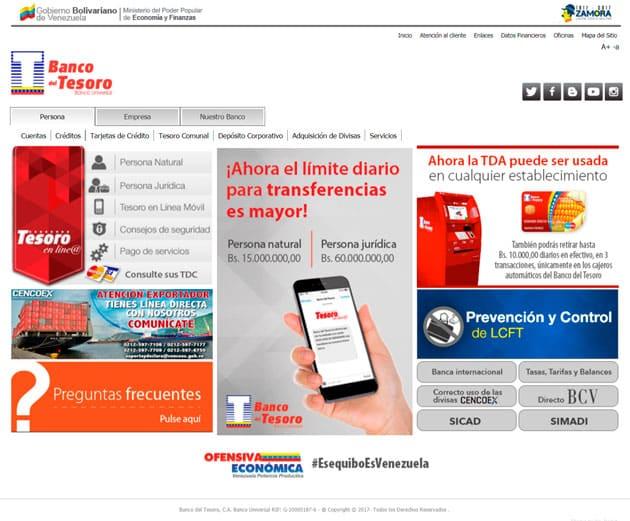 web oficial banco del tesoro